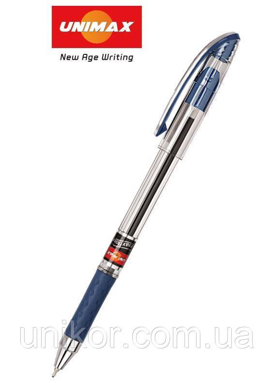 """Ручка шариковая масляная, """"Max flow"""", резиновый грип, корпус прозрачный, стержень синий. Unimax"""