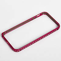 Бампер для iPhone 5/5S металл с камнями розовый