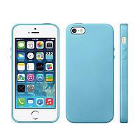 Накладка для iPhone 5/5S силикон Soft Gel голубой
