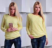 Женский свитер тонкой вязки с гипюровой вставкой. Ткань: шелк с акрилом. Размер: 42-46.
