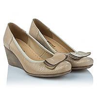 edbb5f8bf Бежевые туфли на танкетке Goral (роскошная фактурная кожа, стильный бант,  стильные, удобные
