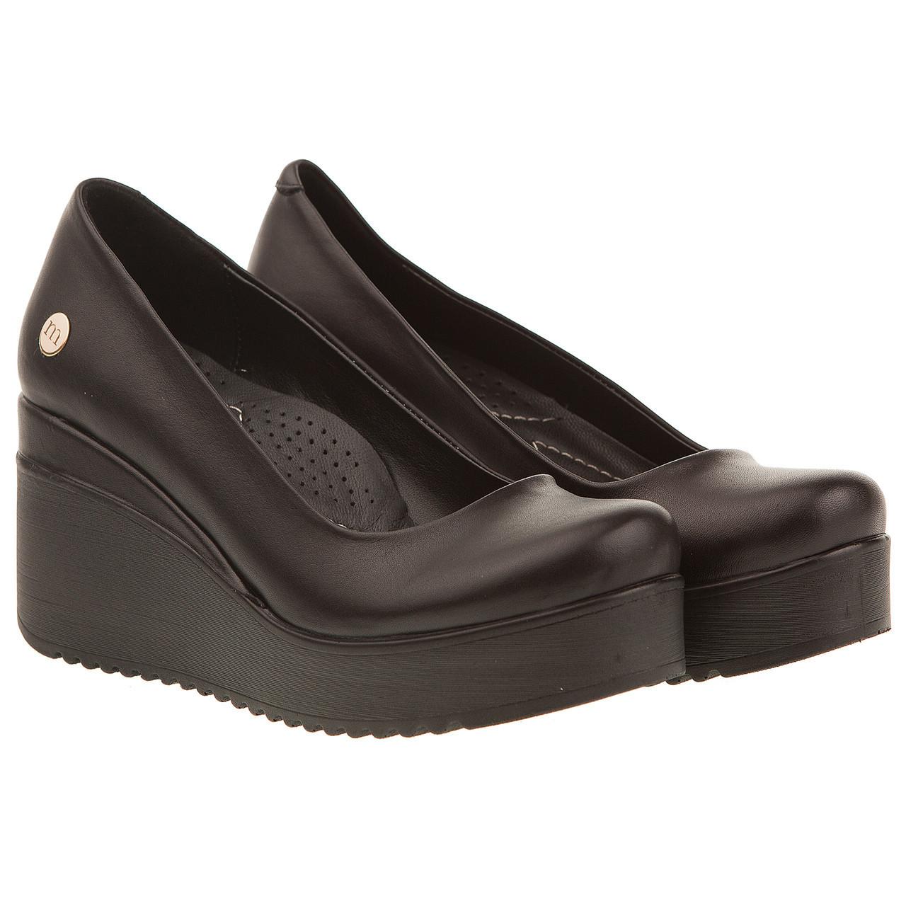 5ee9bbb23 Туфли женские Mamma Mia (кожаные, черные, на танкетке, модные, удобные,