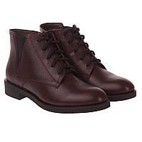 88e4d9a60 Ботинки женские Monroe (кожаные, бордовые, низкий каблук, удобные, на  шнурках)