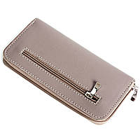 Женский кожаный кошелек на молнии LIKA (светло-серый)