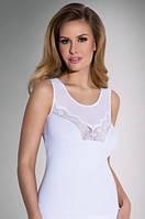 Женская бельевая майка из хлопка белого цвета с кружевом. Модель Sara Eldar.