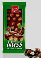 Шоколад Fin Carre whole Nut finest milk chocolate 100 г (Германия), фото 1