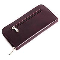 Женский кожаный кошелек на молнии LIKA (бордовый)