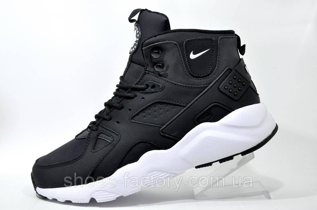 9166359bae00 Зимние Кроссовки в Стиле Nike Air Huarache Ultra Mid Lea, на Меху Black White  — в Категории