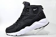 Зимние кроссовки Nike Air Huarache Ultra Mid Lea, на меху Black\White