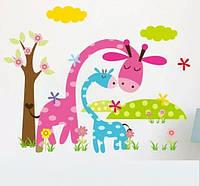 """Наклейка на стену """"веселые жирафи"""" 45см*36см наклейки в детскую (лист 45*30см)"""