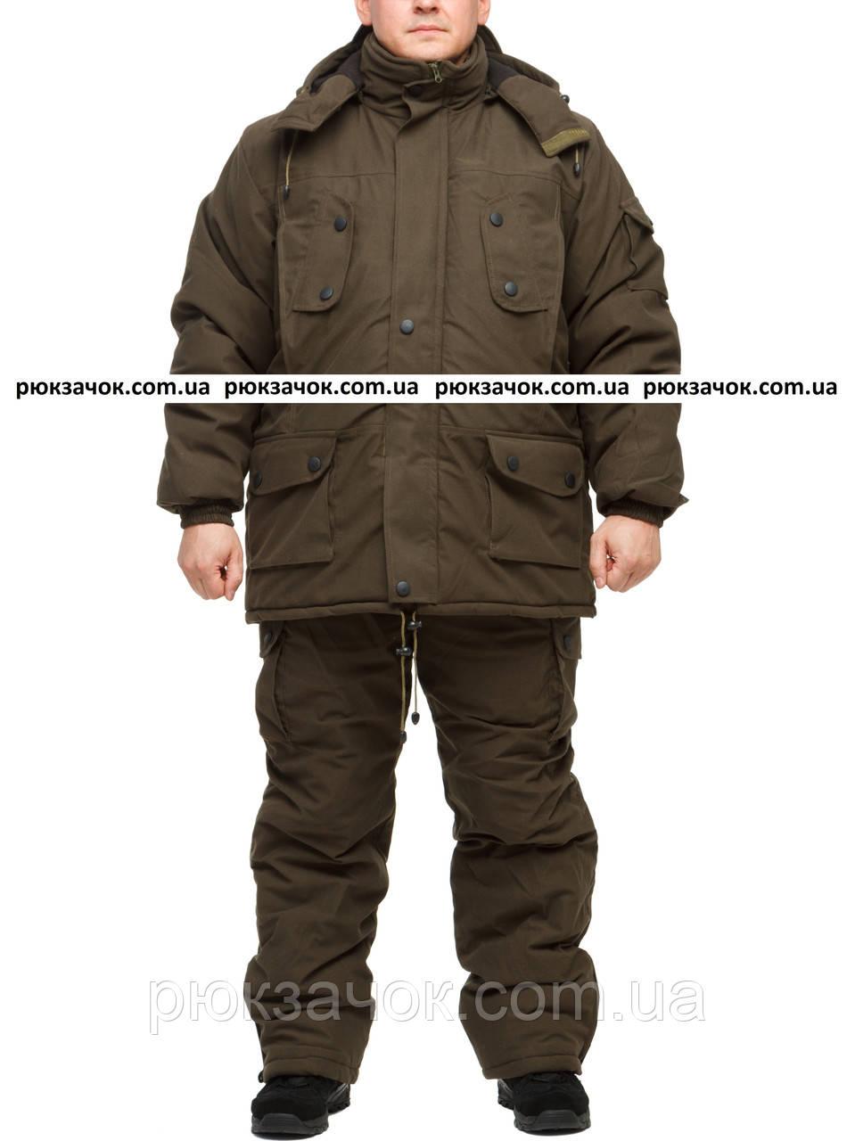 "Теплый охотничий костюм на зиму ""Хаки"" размер 60-62"