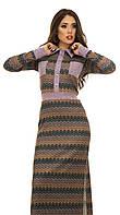 Платье трикотажное длинное фиолетовый орнамент