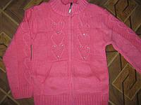 Детская теплая вязаная кофточка Сердечки для девочки 4-5, 8-9 лет Турция