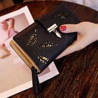 Женский кошелек Лепесток на молнии и кнопке большой черный, фото 1