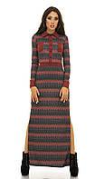Платье трикотажное длинное красный орнамент