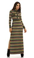 Платье трикотажное длинное оливковый орнамент