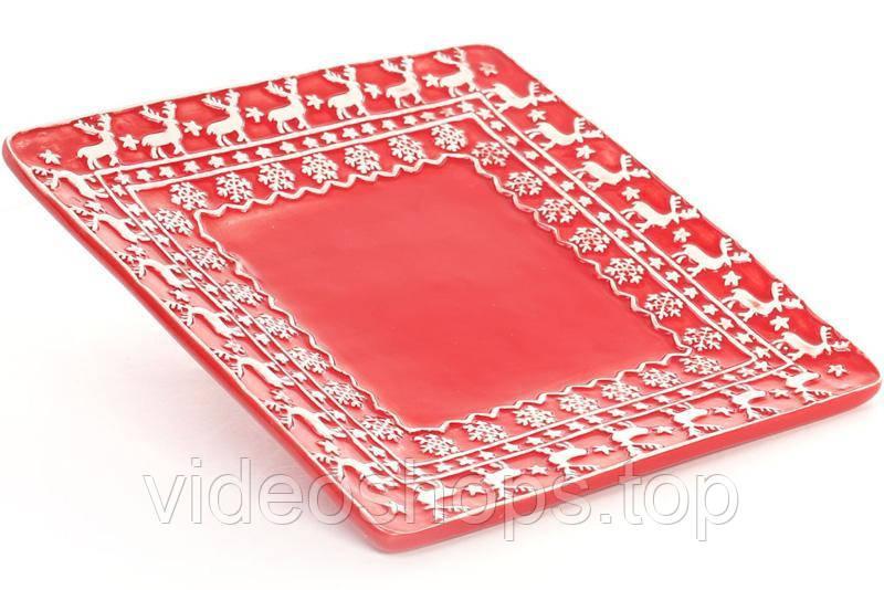 """Набор 4 керамические тарелки Red Ceramics """"Новогодние"""" 21х21х2.2см"""