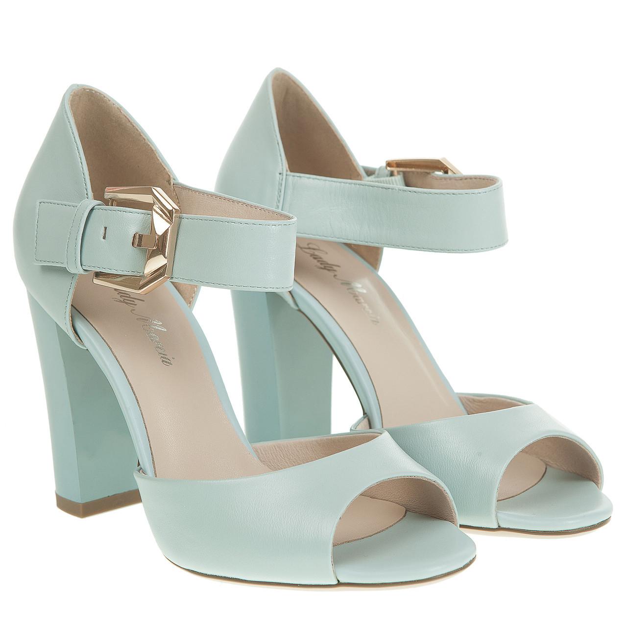 9abab723a0dd Босоножки женские Lady Marcia (голубые, на широком каблуке, кожаные,  удобные, ...