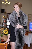 Меховая накидка палантин из чернобурки (перфорация) silver fox fur cape pelerine, фото 1