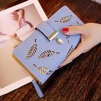 Женский кошелек Лепесток на молнии и кнопке большой голубой, фото 1
