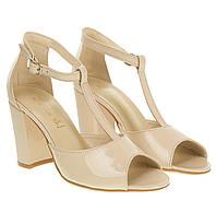 f680a3a3f Босоножки женские Nivelle (лаковые, бежевого цвета, стильные, удобный  каблук, Т-