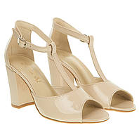 Босоножки женские Nivelle (лаковые, бежевого цвета, стильные, удобный каблук, Т-ремешок)