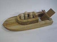 Деревянная лодка с человечками, игрушка