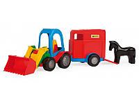 Детская игрушка машинка WADER Трактор - багги с ковшом и прицепом