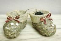Ботиночки-пинетки коричневые из сена.