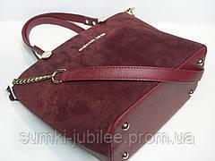c546a17e477b Женская каркасная замшевая сумка Michael Kors бордового цвета, фото 2