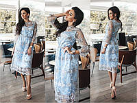 Платье женское длины миди с вышивкой, вышивка на органзе. Оригинальная вечерняя модель.
