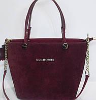 Женская каркасная замшевая сумка Michael Kors бордового цвета