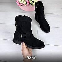 Женские зимние ботиночки чёрные замшевые