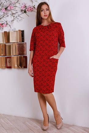 Красивое женское платье миди с украшение на горловине, большие размеры, фото 2