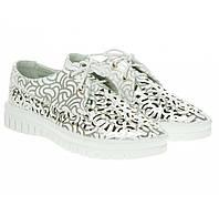 Туфли женские Gelsomino (белые с серебристым декором, с перфорацией, на шнурках)