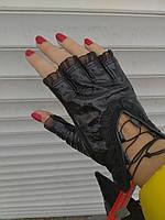 Перчатки митенки Натуральная кожа черный на шнуровке