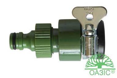 Зєднувач крана (з хомутиком) і муфта 3/4 внутрішнє різблення, пластмасовий 3370 ОАЗІС