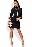 Мини платье черное с отделкой рюшами