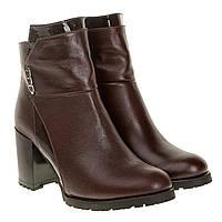 Ботильоны женские El Passo (кожаные, коричневые, на каблуке)