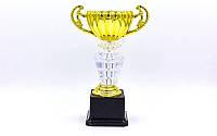 Кубок спортивный с ручками PREMIUM (пластик, h-26см, b-16см, d чаши-10см, золото)