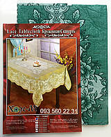 Кружевная виниловая скатерть 110х140 зелёный (Vn110zl)