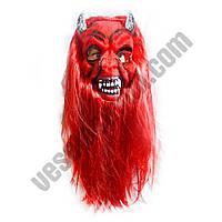 Маска Дьявол с волосами латексная ( карнавальная маска )