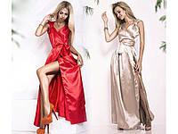 Платье в пол, красивое женское коктейльное атласное платье длины макси. Разные цвета.