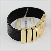 """Кожаный браслет с брусками """"имитация золота"""" на магните"""