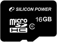 Карта памяти MicroSDHC 16Gb class 10 Silicon Power (SP016GBSTH010V10)