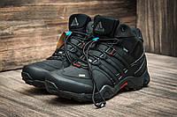 Зимние мужские кроссовки Adidas Terrex, черные, на меху, р. 41 42 43 44 45 46 Код 3168-3
