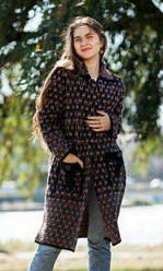 Пальто вязаное женское на пуговицах очень тёплое индийская шерсть