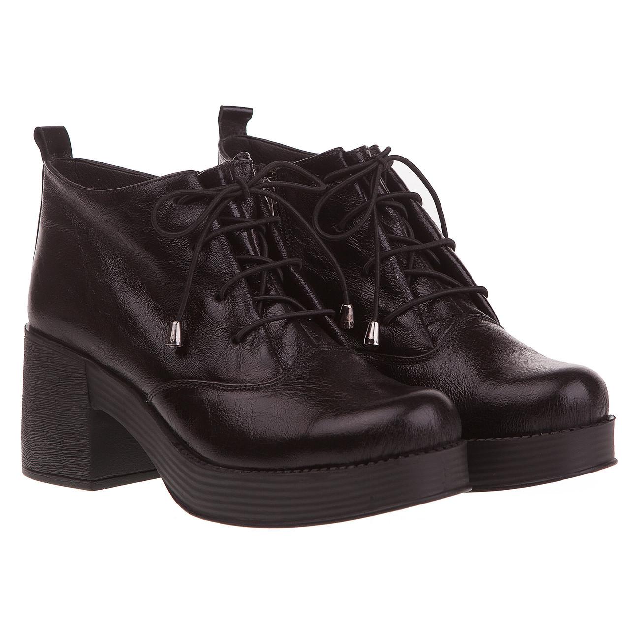 43c392a6c Женские ботинки Aquamarin (черные, на шнурках, удобный каблук, стильные,  модные)