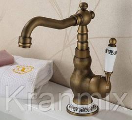 Смеситель для раковины бронзовый Aquaroom кран для умывальника в ванную в душ