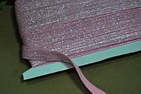 Бейка резинка трикотаж парча розовый